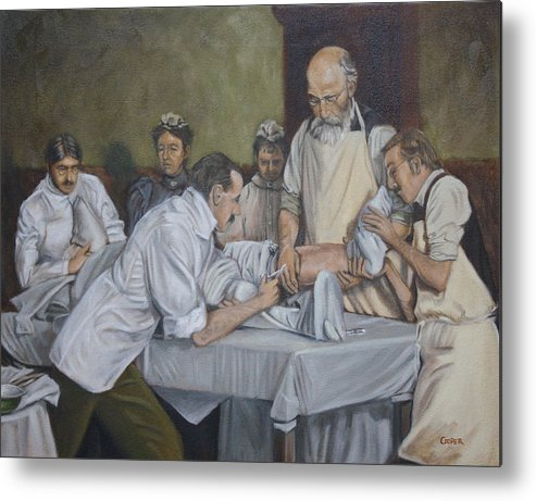Art Metal Print featuring the painting Surgery 1900 by Todd Cooper