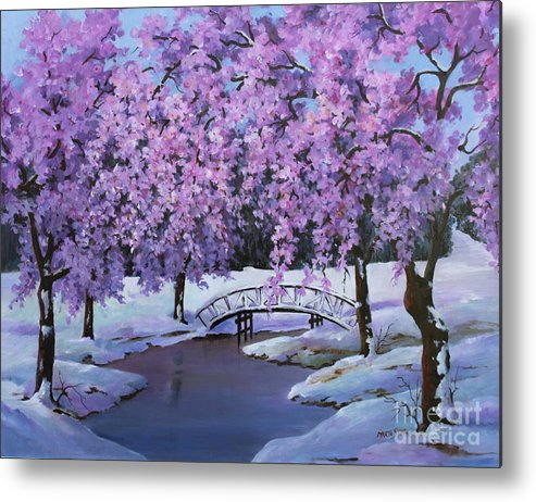 Landscape Metal Print featuring the painting Surprise At Spring Time by Marta Styk