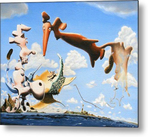 Surreal Metal Print featuring the painting Surreal Friends by Dave Martsolf