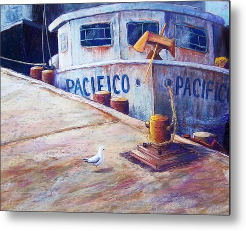 Seascape Metal Print featuring the pastel Surveying The Fleet by Candy Mayer