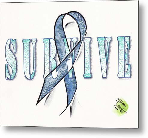 Cancer Metal Print featuring the mixed media Survive Colon Cancer by Scott Lightfoot