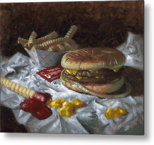 Hamburger Metal Print featuring the painting Suzy-q Double Cheeseburger by Timothy Jones