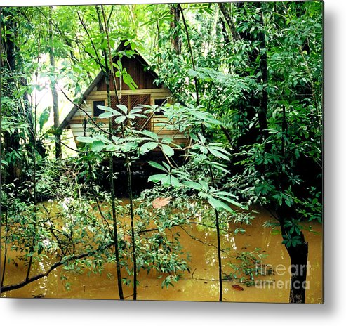 Honduras Metal Print featuring the photograph Swamp Hut In Honduras by Trude Janssen