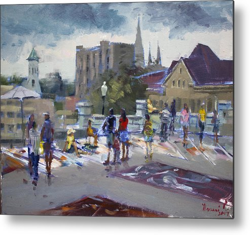 Sweet Metal Print featuring the painting Sweet Chalk Festival In Lockport by Ylli Haruni