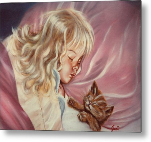 Portrait Metal Print featuring the painting Sweet Dreams by Joni McPherson