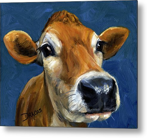 Jersey Cow Metal Print featuring the painting Sweet Jersey Cow by Dottie Dracos