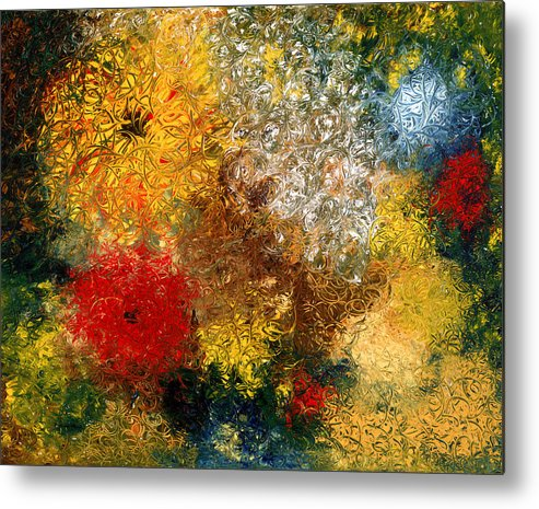 Abstract Metal Print featuring the painting Symphonie De Fleurs by Dominique Boutaud