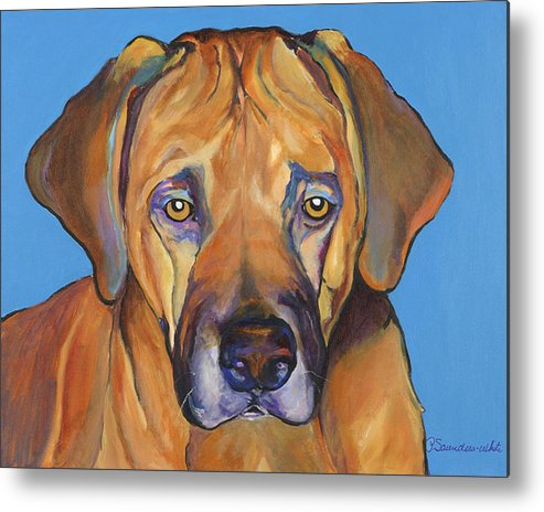 Rhodesian Ridgeback Dog Ridgeback African Colorful Orange Gold Yellow Red Metal Print featuring the painting Talen by Pat Saunders-White