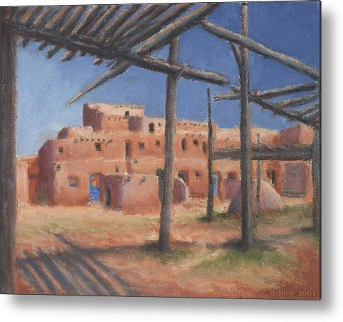 Taos Metal Print featuring the painting Taos Pueblo by Jerry McElroy