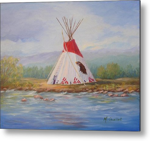 Landscape Metal Print featuring the painting Tee Pee by Maxine Ouellet