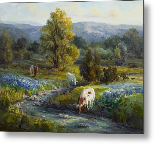 Bluebonnets Metal Print featuring the painting Texas Bluebonnets And Longhorns by Lilli Pell