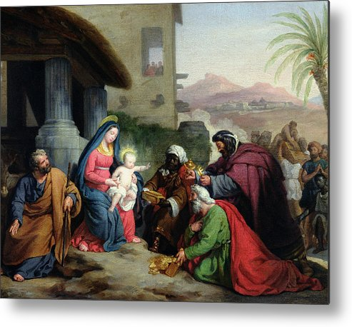 The Metal Print featuring the painting The Adoration Of The Magi by Jean Pierre Granger