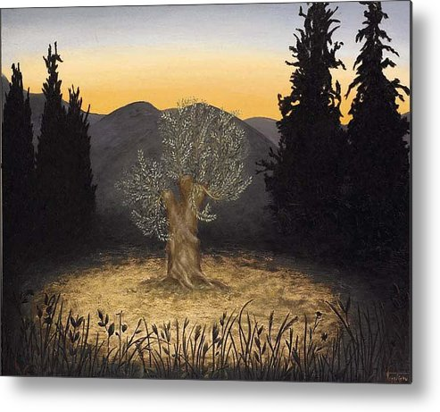 Landscape Metal Print featuring the painting The Adoration Of The Olive Tree by Barbara Gerodimou