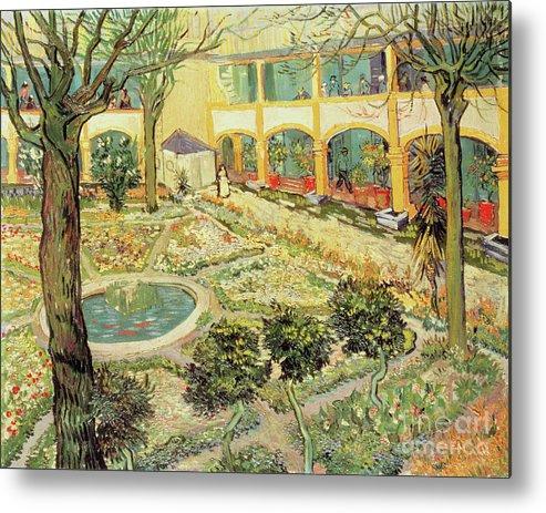 Vincent Van Gogh Metal Print Featuring The Painting The Asylum Garden At  Arles By Vincent Van