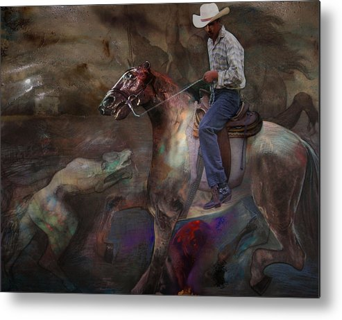 Horse Metal Print featuring the digital art The Attack by Henriette Tuer lund