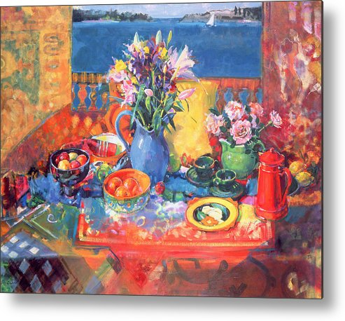 Fruit Metal Print featuring the painting The Balcony Table by Peter Graham
