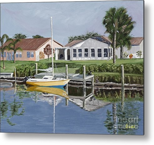 Landscape Metal Print featuring the painting The Canal Awakens by Sodi Griffin