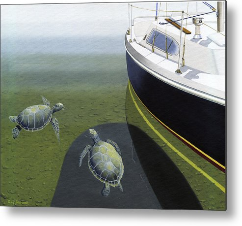 Sail Boat Metal Print featuring the painting The Curiosity Of Sea Turtles by Gary Giacomelli