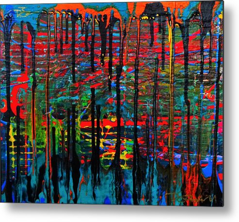 Multicolor Metal Print featuring the painting The Drip by Dane Newton