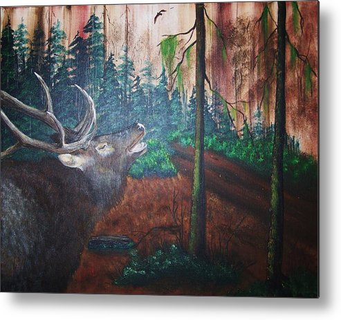 Acrylics Painting Metal Print featuring the painting The Elk by Laurie Kidd