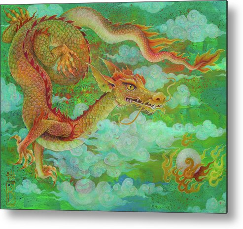 Dragon Metal Print featuring the painting The Elusive Pearl by Lynn Bywaters