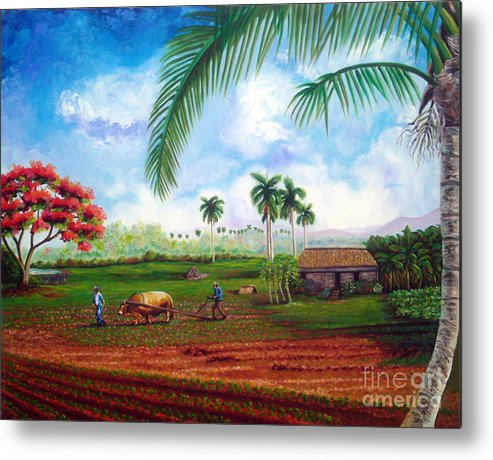 Cuban Art Metal Print featuring the painting The Farm by Jose Manuel Abraham