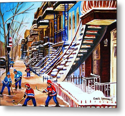 Hockey Metal Print featuring the painting The Gray Staircase by Carole Spandau