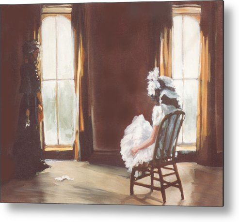 Victorian Metal Print featuring the painting The Letter by Linda Crockett
