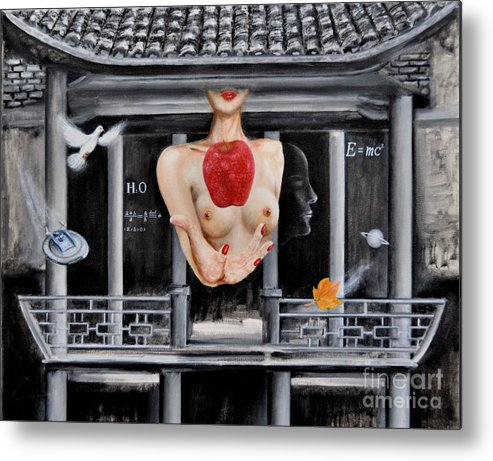 Ch Metal Print featuring the painting The Lips Of Forgetting Craziness by C H