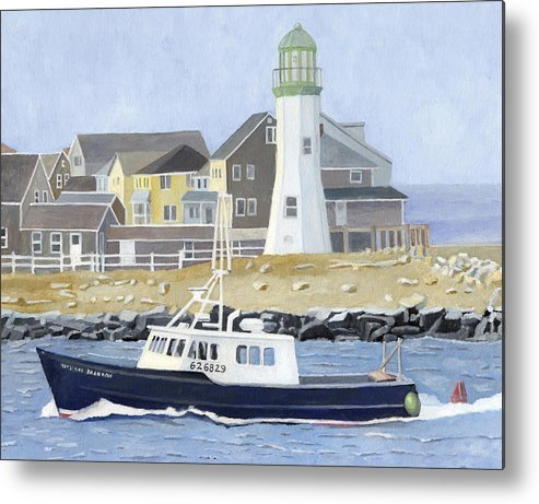 Fishingboat Metal Print featuring the painting The Michael Brandon by Dominic White