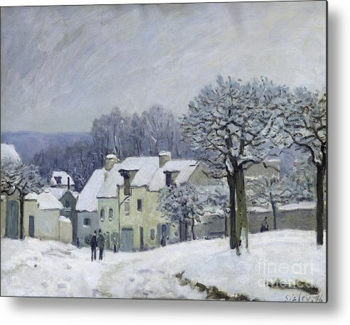 The Metal Print featuring the painting The Place Du Chenil At Marly Le Roi by Alfred Sisley