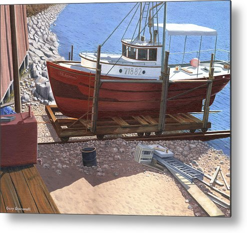 Fishing Boat Metal Print featuring the painting The Red Troller by Gary Giacomelli