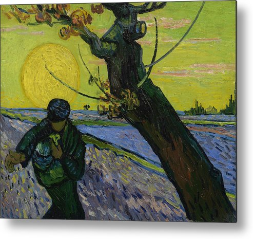Van Gogh Metal Print featuring the painting The Sower 10 by Vincent van Gogh