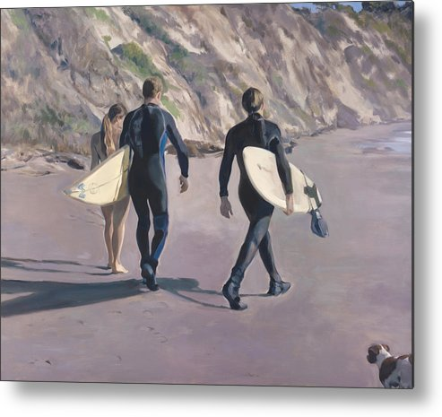 Surfers Metal Print featuring the painting The Surfers by Merle Keller