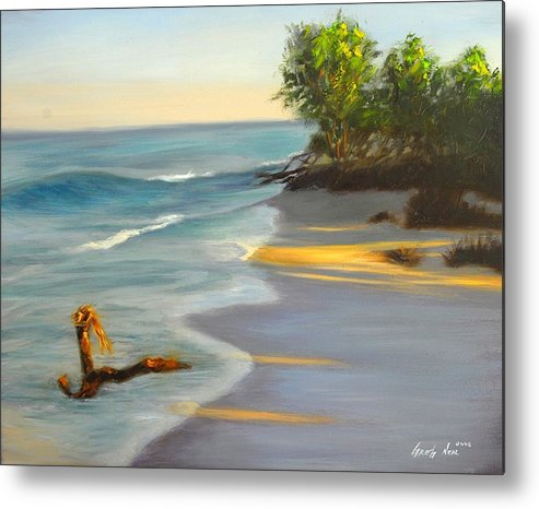 Landscape Metal Print featuring the painting The Tide Is Blocking The Way by Greg Neal