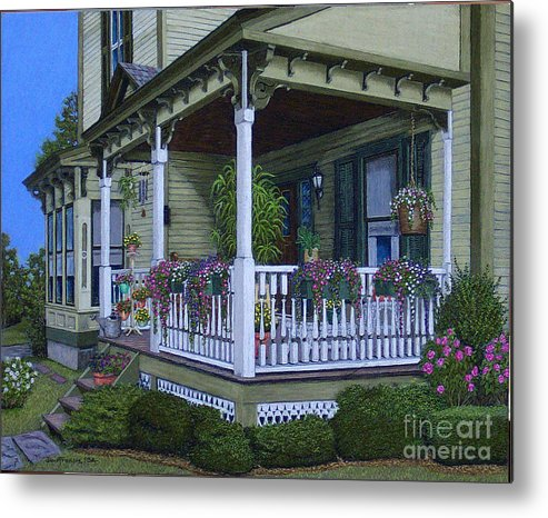 Landscape Metal Print featuring the painting The Victorian Porch by David Francis