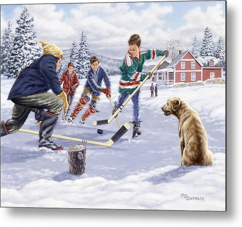 Hockey Metal Print featuring the painting This Time For Sure by Richard De Wolfe