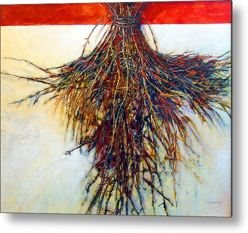 Tree Metal Print featuring the painting Thorn Zia by Dale Witherow