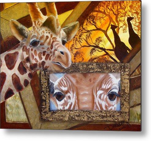 Giraffe Metal Print featuring the painting Those Eyes   Giraffe Safari Series No 3 by Darlene Green