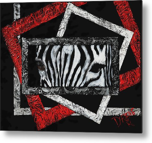 Abstract Metal Print featuring the painting Those Eyes...zebra by Darlene Green