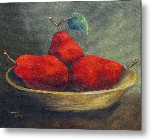 Pear Metal Print featuring the painting Three Red Pears by Torrie Smiley