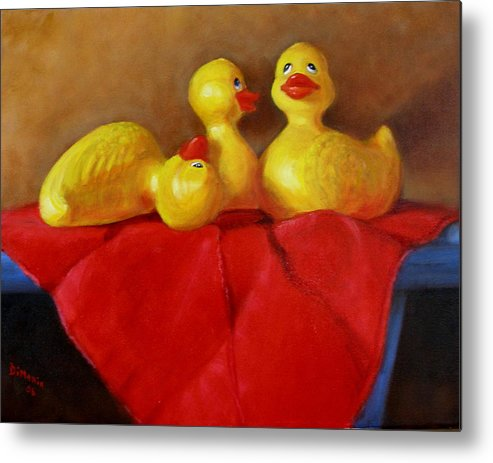 Metal Print featuring the painting Three Rubber Ducks 3 by Donelli DiMaria