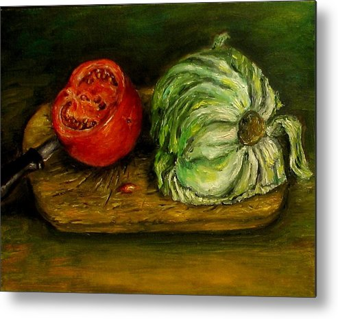 Tomatoes Metal Print featuring the painting Tomato And Cabbage Oil Painting Canvas by Natalja Picugina