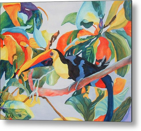 Bird Metal Print featuring the painting Toucan by SheRok Williams