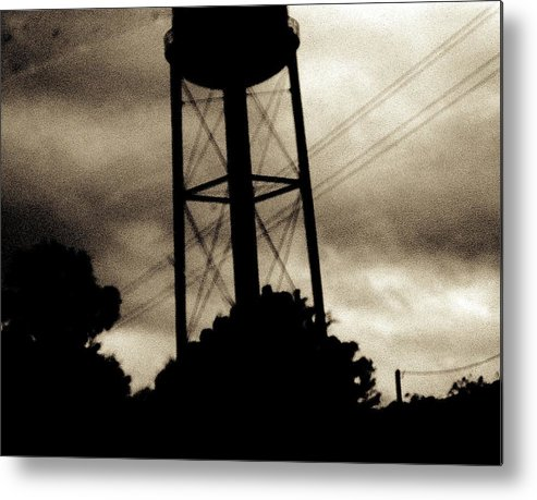 Water Tower Metal Print featuring the photograph Tower With Intersecting Lines II by Stephen Hawks