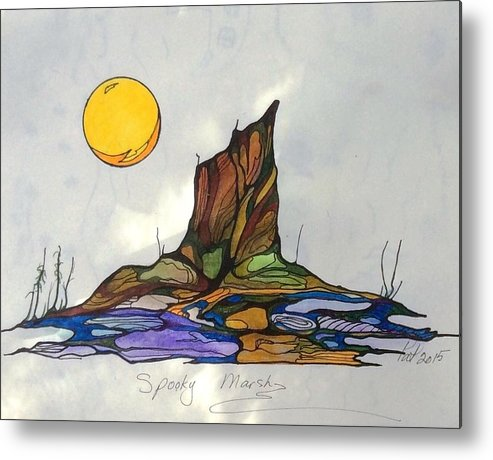 Tree Metal Print featuring the painting Tree Stump At Spooky Marsh by Pat Purdy