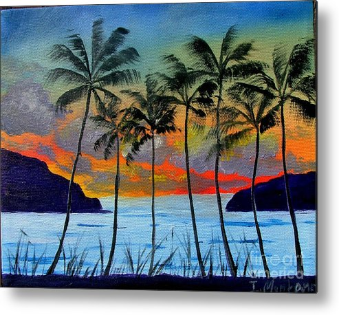 Sunset Metal Print featuring the painting Tropical Sunset by Inna Montano