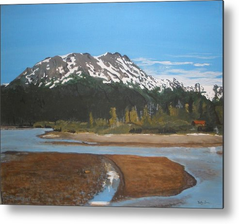 Landscape Metal Print featuring the painting Turnagain Arm Alaska by Betty-Anne McDonald