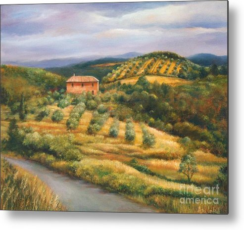 Landscape Metal Print featuring the painting Tuscan Summer by Ann Cockerill