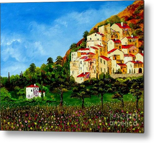 Landscape Metal Print featuring the painting Tuscany Spring by Inna Montano
